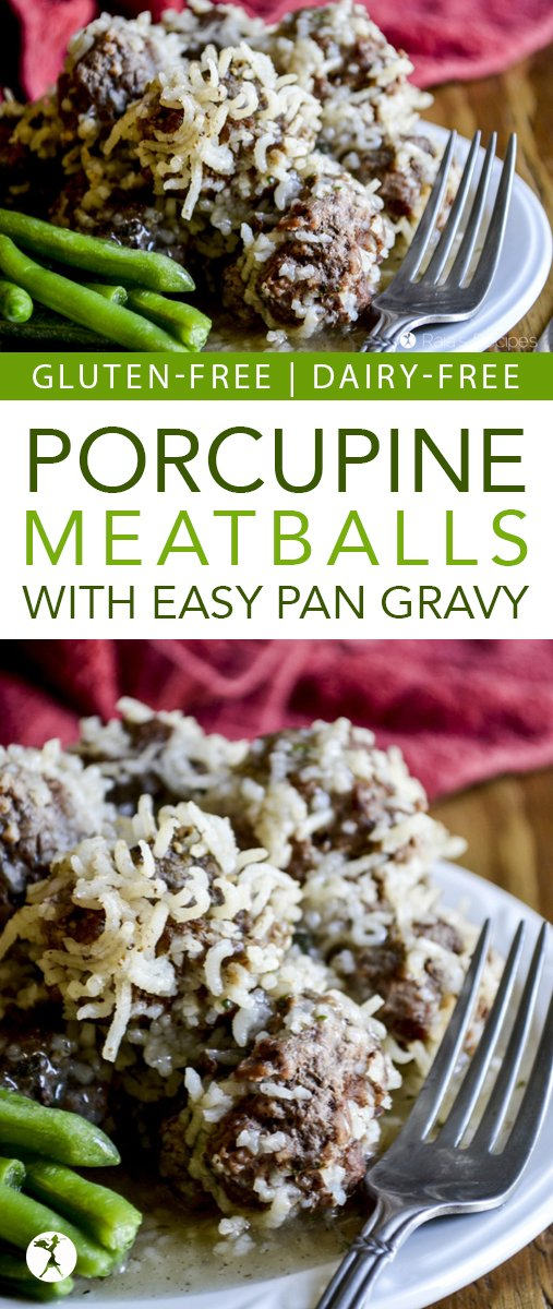With only a few naturally gluten-free ingredients, these fun and delicious porcupine meatballs with easy pan gravy are a meal the whole family will love! #glutenfree #lunch #dinner #meatballs #porcupinemeatballs #dairyfree #eggfree #realfood #gravy