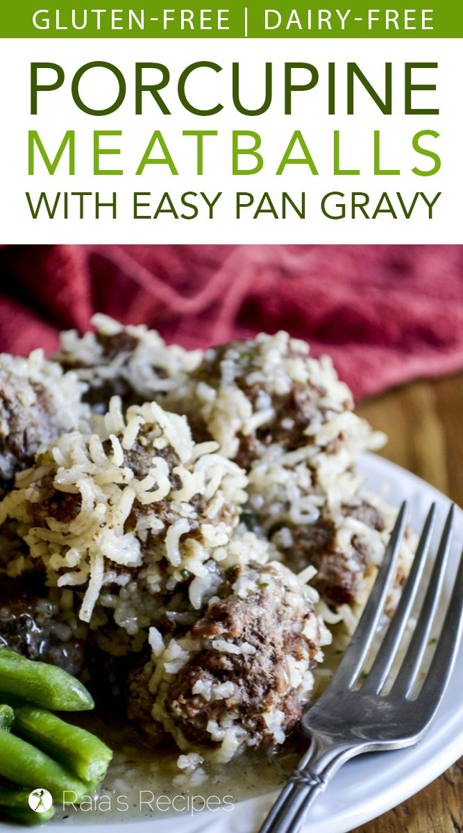 Gluten-Free Porcupine Meatballs with Easy Pan Gravy #glutenfree #lunch #dinner #meatballs #porcupinemeatballs #dairyfree #eggfree #realfood #gravy