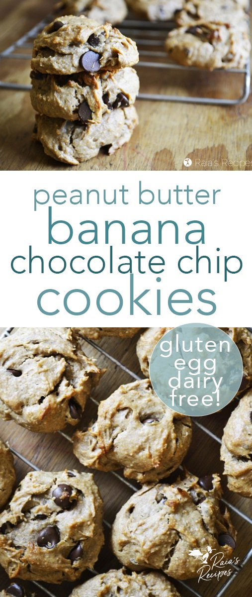 These easy gluten, dairy, and egg-free peanut butter banana chocolate chip cookies are a go-to when my family begs for a treat! They're easy to whip up, and a healthy treat for all. #peanutbutter #chocolatechip #cookies #glutenfree #dairyfree #eggfree #dessert #banana