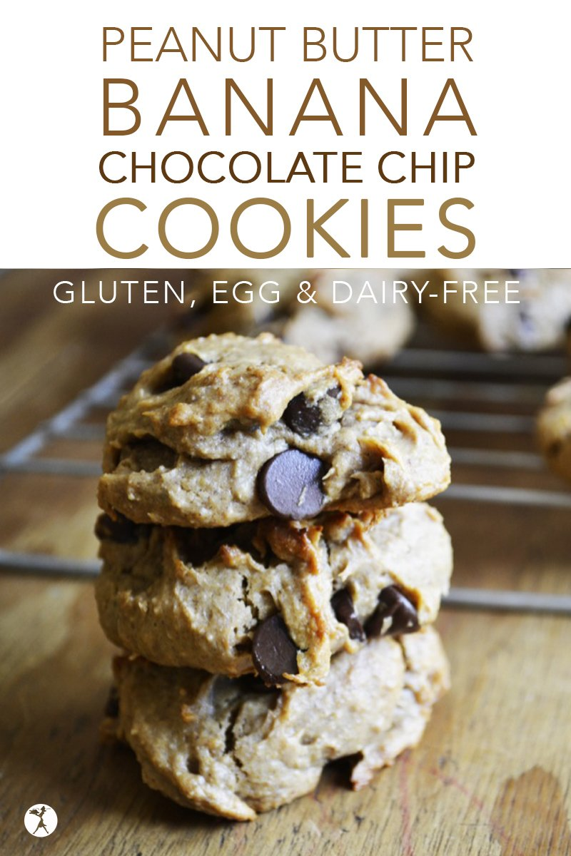 These easy gluten, dairy, and egg-free Peanut Butter Banana Chocolate Chip Cookies are a go-to when my family begs for a treat!