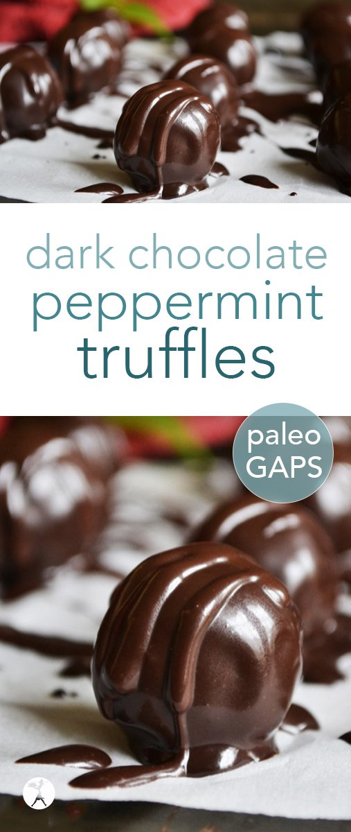 Easy and decadent, these grain and dairy-free Dark Chocolate Peppermint Truffles are the perfect holiday treat! #paleo #glutenfree #dairyfree #grainfree #dessert #chocolate #peppermint #truffles #darkchocolate #gapsdiet