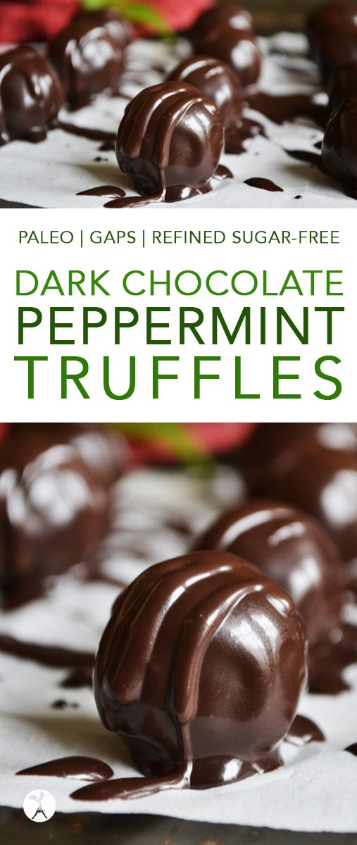 Easy and decadent, these grain and dairy-freeDark Chocolate Peppermint Truffles are the perfect holiday treat!#paleo #glutenfree #dairyfree #grainfree #dessert #chocolate #peppermint #truffles #darkchocolate #gapsdiet