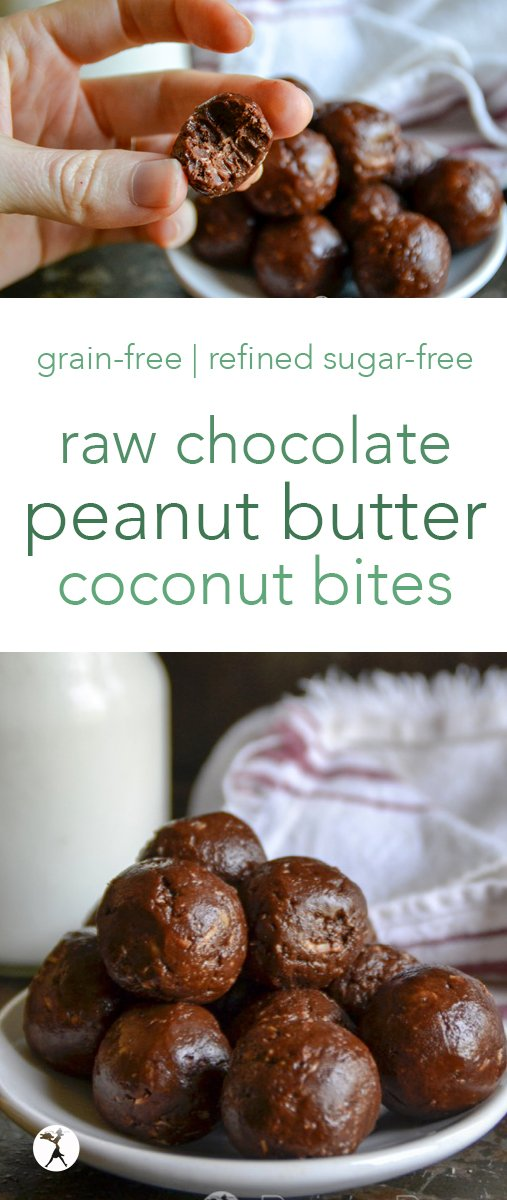 These grain, dairy, and refined-sugar free raw chocolate peanut butter coconut balls are the perfect, easy treat! #raw #peanutbutter #chocolate #coconut #snack #healthytreat #grainfree #dairyfree