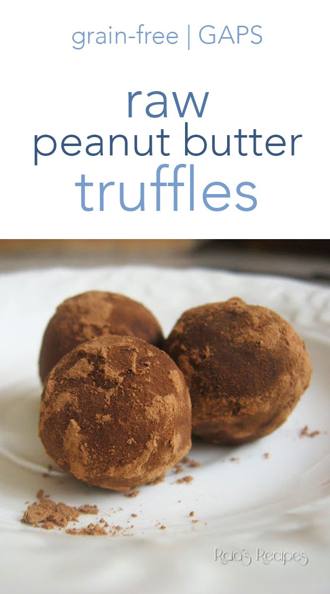 These 4-ingredient raw peanut butter truffles are just about the easiest treat you can make. If you're peanut-free, or paleo, you can substitute almond butter for the peanut butter, too. #peanutbutter #raw #truffles #chocolate #gapsdiet #grainfree #realfood