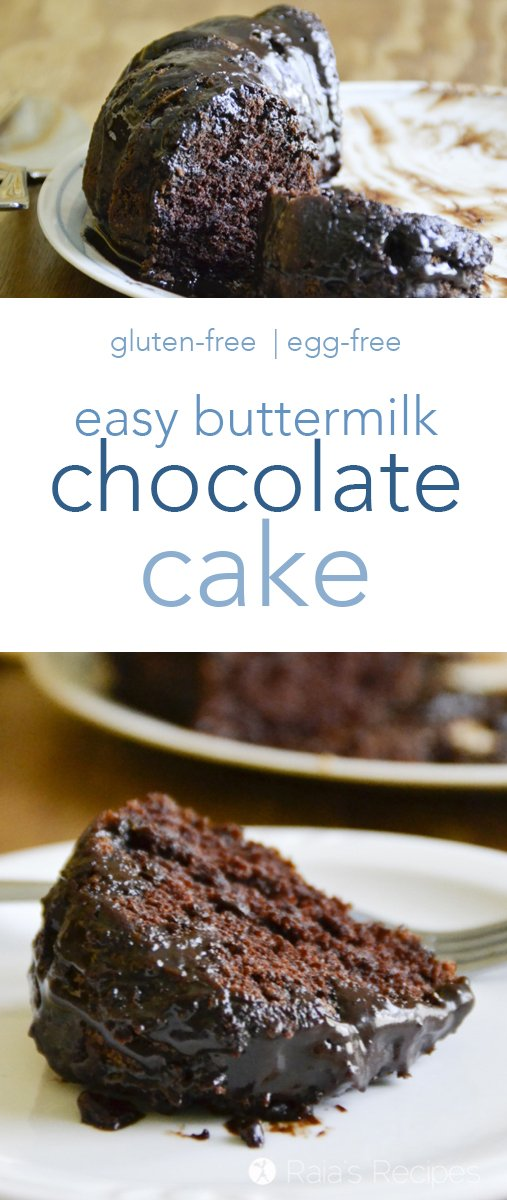 This Easy Chocolate Buttermilk Cake is surprisingly decadent, and will have you coming back for fourths... I mean, seconds. #glutenfree #eggfree #chocolate #buttermilk #cake #chocolatecake #dessert