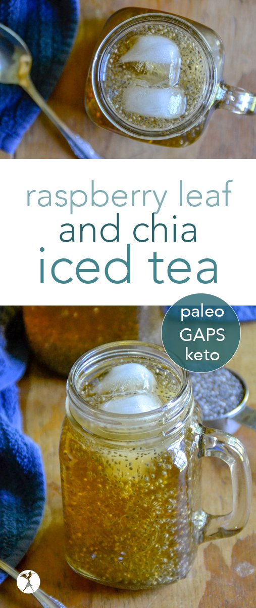 Full of vitamins, minerals, and antioxidants, this deliciously naturally sweetened iced raspberry leaf chia tea is a wonderful alternative to sugar-filled summer drinks. #raspberryleaf #icedtea #tea #drinks #chiaseeds #hormones #healthy #paleo #GAPSdiet #keto #lowcarb #glutenfree #realfood