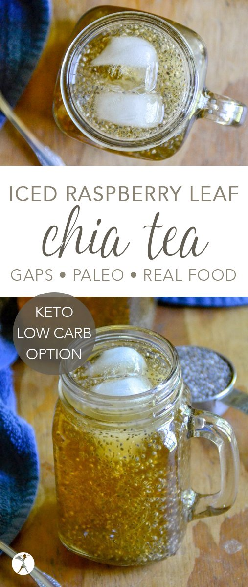 Full of vitamins, minerals, and antioxidants, this deliciously naturally sweetened Iced Raspberry Leaf Chia Tea is a wonderful alternative to sugar-filled summer drinks. #paleo #glutenfree #ketooption #lowcarb #gapsdiet #chiaseeds #icedtea #herbs #realfood #drinks #vitamins