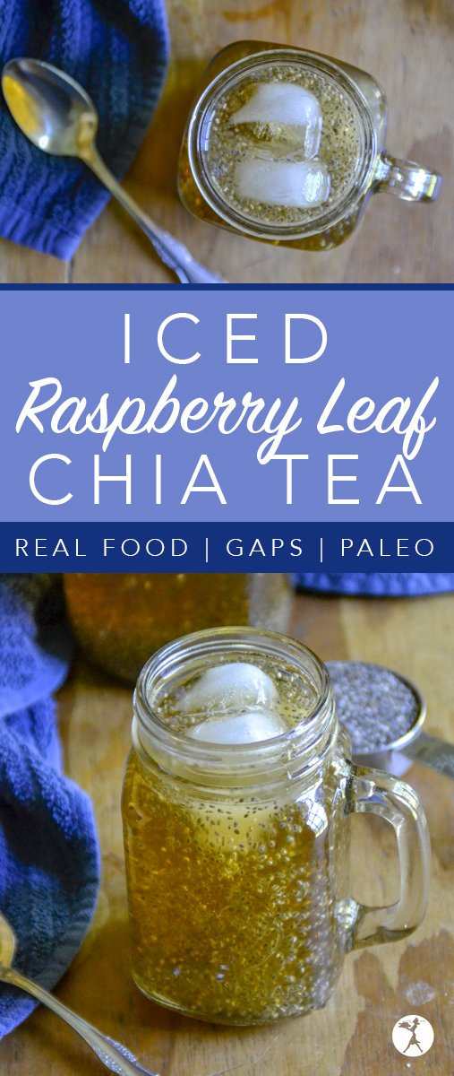 Full of vitamins, minerals, and antioxidants, this deliciously naturally sweetened Iced Raspberry Leaf Chia Tea is a wonderful alternative to sugar-filled summer drinks.
