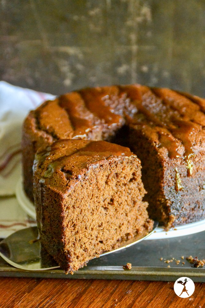 slice of gluten-free honey gingerbread from raiasrecipes.com