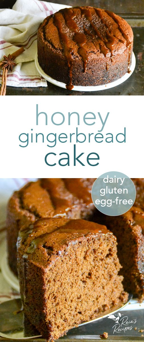 This honey gingerbread cake is perfectly spiced with deep tones of ginger and molasses. It's a wonderful holiday treat made gluten, egg, and dairy-free and sweetened with honey! #glutenfree #dairyfree #eggfree #refinedsugarfree #gingerbread #cake #honey #molasses #ginger #dessert #holiday