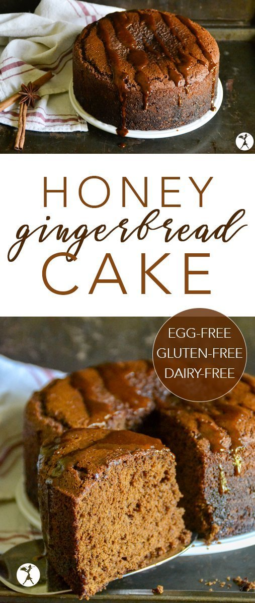 This Honey Gingerbread Cake is perfectly spiced with deep tones of ginger and molasses. It's a wonderful holiday treat made healthier! #glutenfree #dairyfree #eggfree #refinedsugarfree #gingerbread #cake #honey #molasses #ginger #dessert #holiday