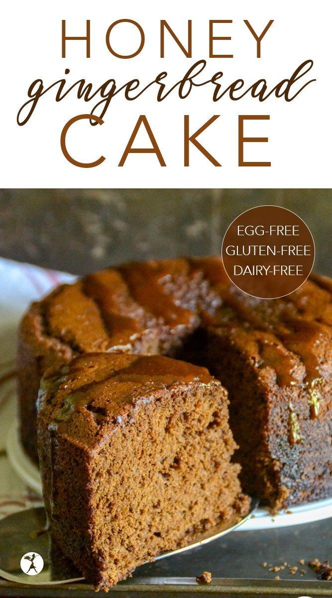 Gluten-Free Honey GIngerbread Cake #glutenfree #dairyfree #eggfree #refinedsugarfree #gingerbread #cake #honey #molasses #ginger #dessert #holiday