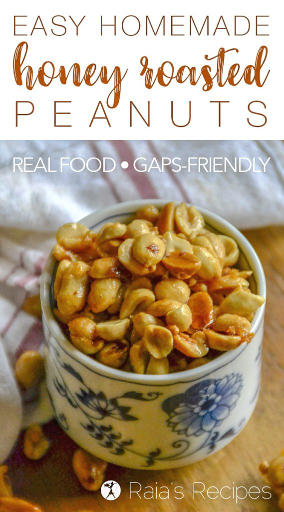 Love honey roasted peanuts, but not the unhealthy ingredients in the store-bought ones? These easy, Real Food Homemade Honey Roasted Peanuts are sure to be a sweet hit.