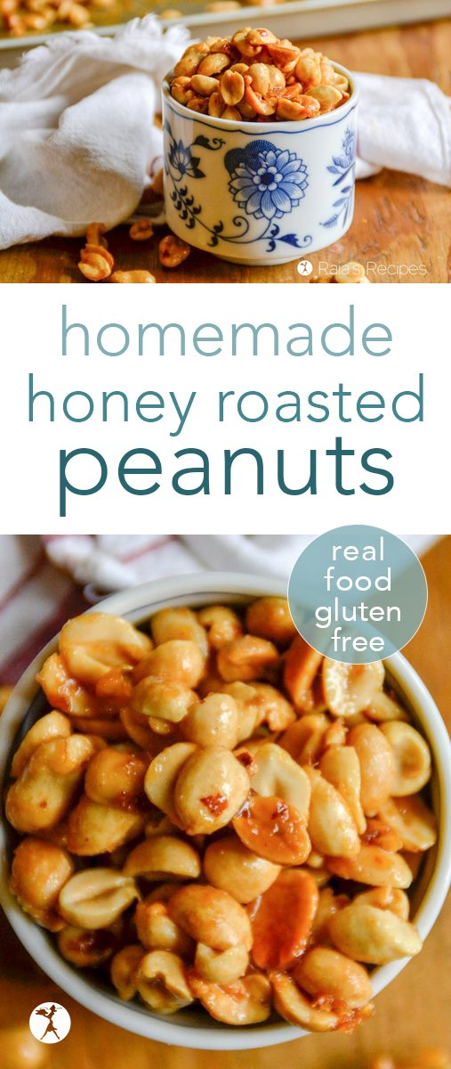 Love honey roasted peanuts, but not the unhealthy ingredients in the store-bought ones? These easy, real food, homemade honey roasted peanuts are sure to be a sweet hit. #realfood #glutenfree #refinedsugarfree #snack #peanuts #honeyroastedpeanuts #dairyfree