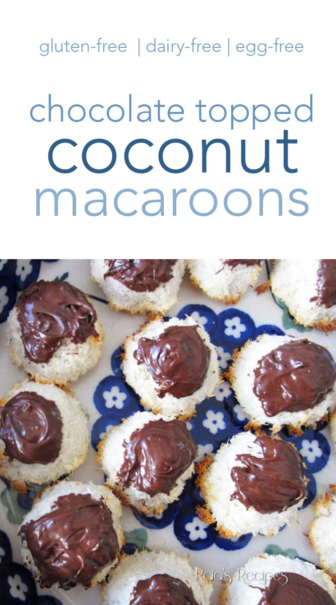 These chocolate topped coconut macaroons are an easy and delicious treat! With only a few, naturally gluten-free ingredients, they're sure to be a favorite. #chocolate #macaroons #glutenfree #eggfree #dairyfree