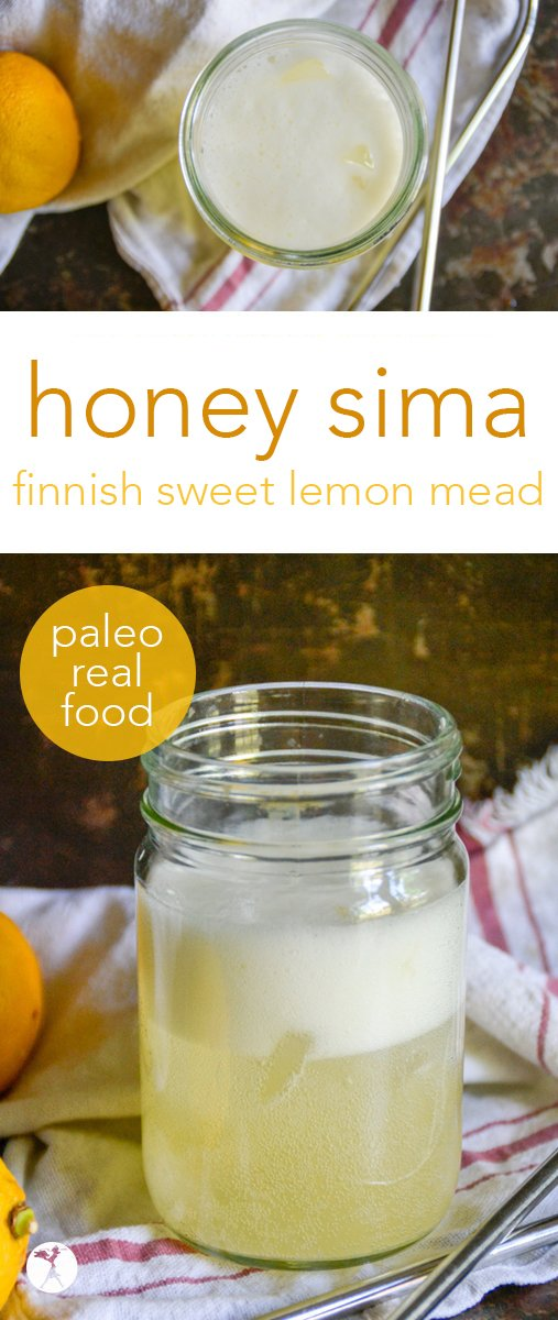 Refreshing and slightly sweet, this Honey Sima is a real food, paleo version of the traditional Finnish mead, full of fizz and fun. #paleo #realfood #glutenfree #dairyfree #refinedsugarfree #drinks #healthydrinks #mead #sima #honey #lemon #frementedfood #traditionalfood