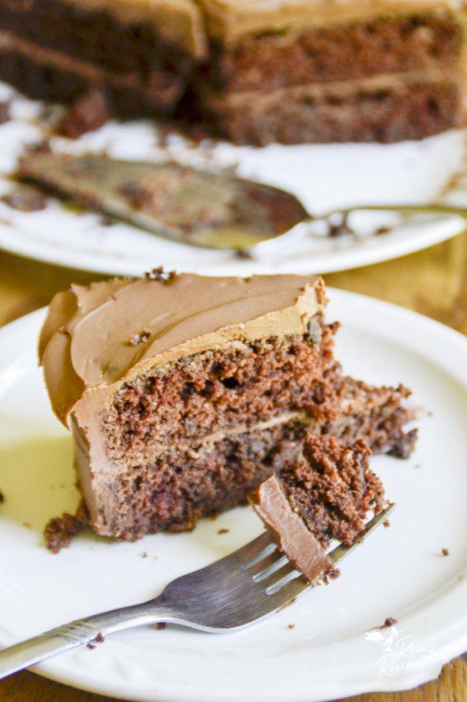 bite of chocolate applesauce cake from raiasrecipes.com