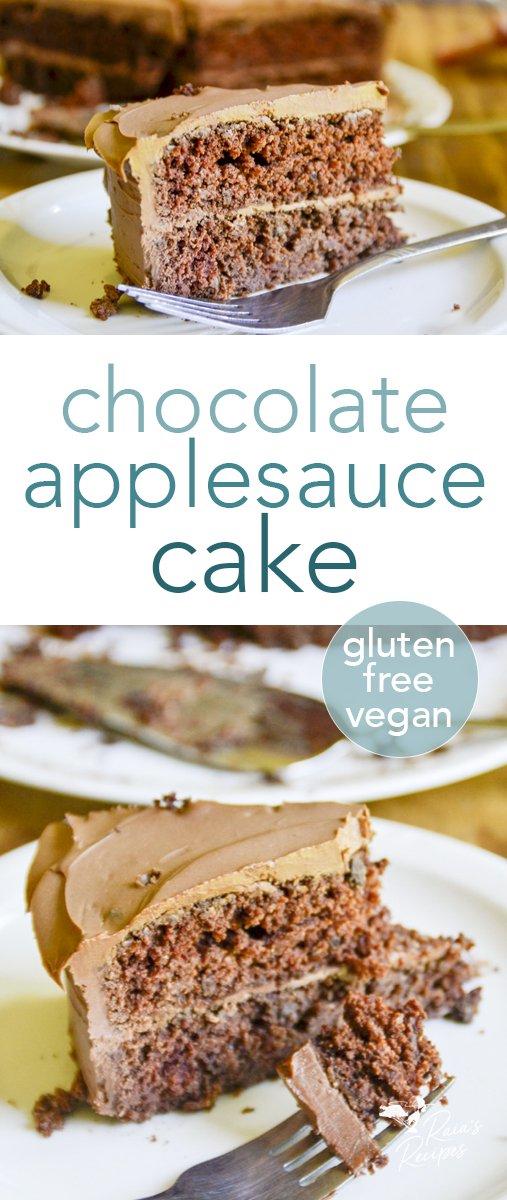 This gluten-free, vegan chocolate applesauce cake is a delicious, easy, allergy-friendly dessert... or breakfast. #glutenfree #vegan #chocolate #applesauce #cake #birthday #dessert