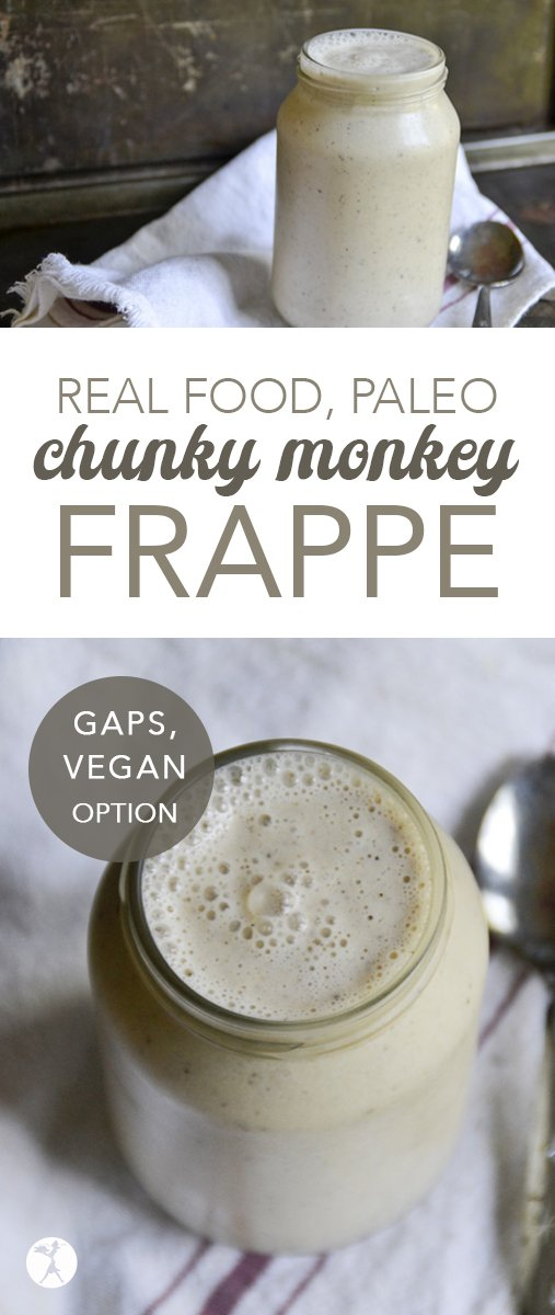 Need a tasty and easy delicious pick-me-up? This paleo and GAPS-friendly Chunky Monkey Frappe will be sure to give you the healthy boost you need! #coffee #frappe #banana #nutbutter #smoothie #realfood #paleo #gapsdiet #veganoption #glutenfree #dairyfree