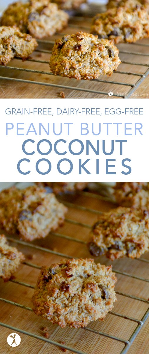 Easy and delicious, these chewy Peanut Butter Coconut Cookies are a hit every time I make them! They're naturally gluten-free, with a paleo option, too! #grainfree #eggfree #dairyfree #realfood #veganoption #paleooption #cookies #peanutbutter #coconut