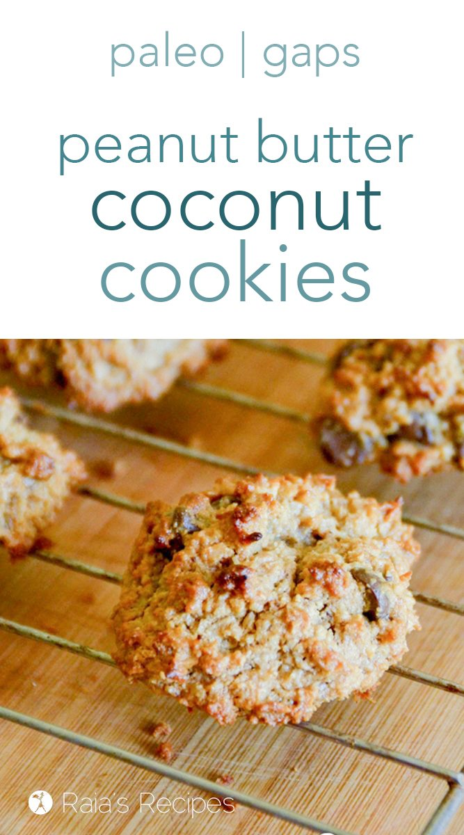 Peanut Butter Coconut Cookies #grainfree #eggfree #dairyfree #realfood #veganoption #paleooption #cookies #peanutbutter #coconut