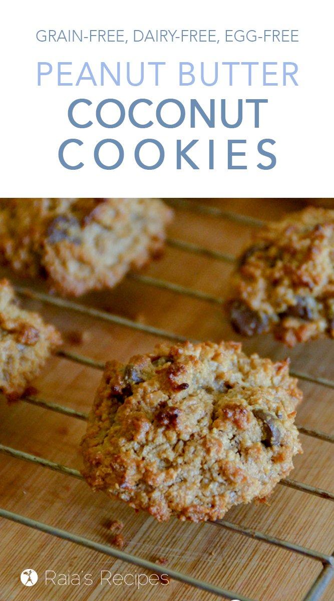 Peanut Butter Coconut Cookies #grainfree #eggfree #dairyfree #realfood #veganoption #paleooption #cookies #peanutbutter #coconut