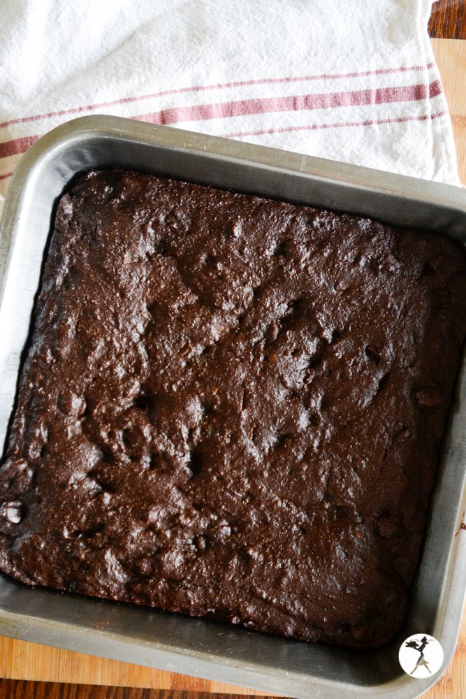 A pan of Vegan Dark Chocolate Brownies from raiasrecipes.com