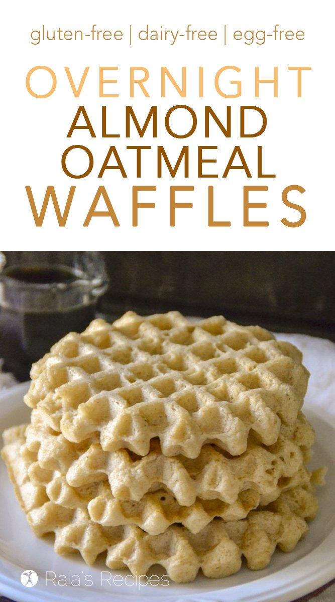 Overnight Almond Oatmeal Waffles #waffles #glutenfree #realfood #vegan #dairyfree #eggfree #almond #oatmeal