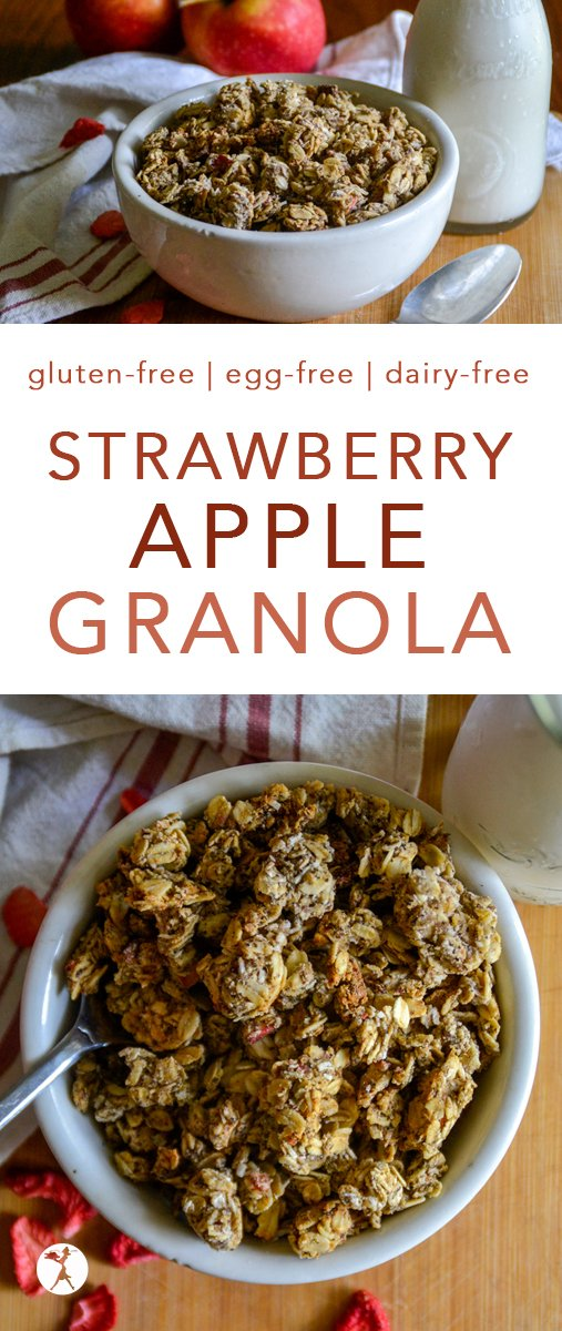 The flavors of summer and fall combine perfectly in this easy, gluten-free strawberry apple granola! It's the perfect breakfast or late-night snack. #glutenfree #eggfree #dairyfree #refinedsugarfree #strawberry #apple #granola #breakfast