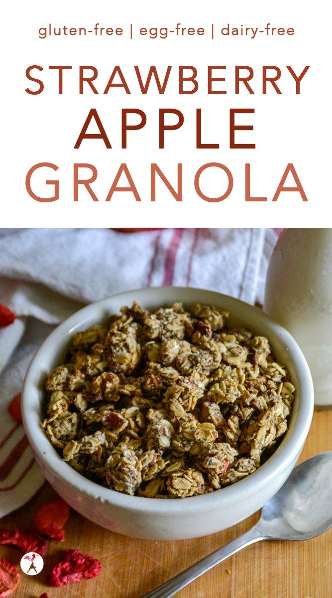 Gluten-Free Strawberry Apple Granola #glutenfree #eggfree #dairyfree #refinedsugarfree #strawberry #apple #granola #breakfast