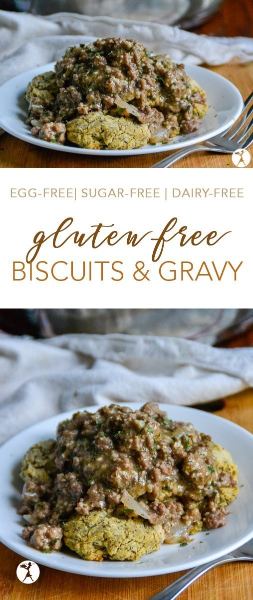 These easy, gluten-free Biscuits & Gravy are the perfect comfort food. Whether it's the middle of winter, or the heat of summer, my family's always up for this southern favorite. #glutenfree #biscuits #gravy #biscuitsandgravy #breakfast #brunch #dinner #breakfastfordinner #glutenfreefood #beef