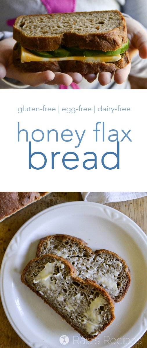"This gluten, egg, and dairy-free Honey Flax Bread has a great texture and a light flavor. My hubby even likes it more than ""regular"" bread! #glutenfree #eggfree #dairyfree #bread"