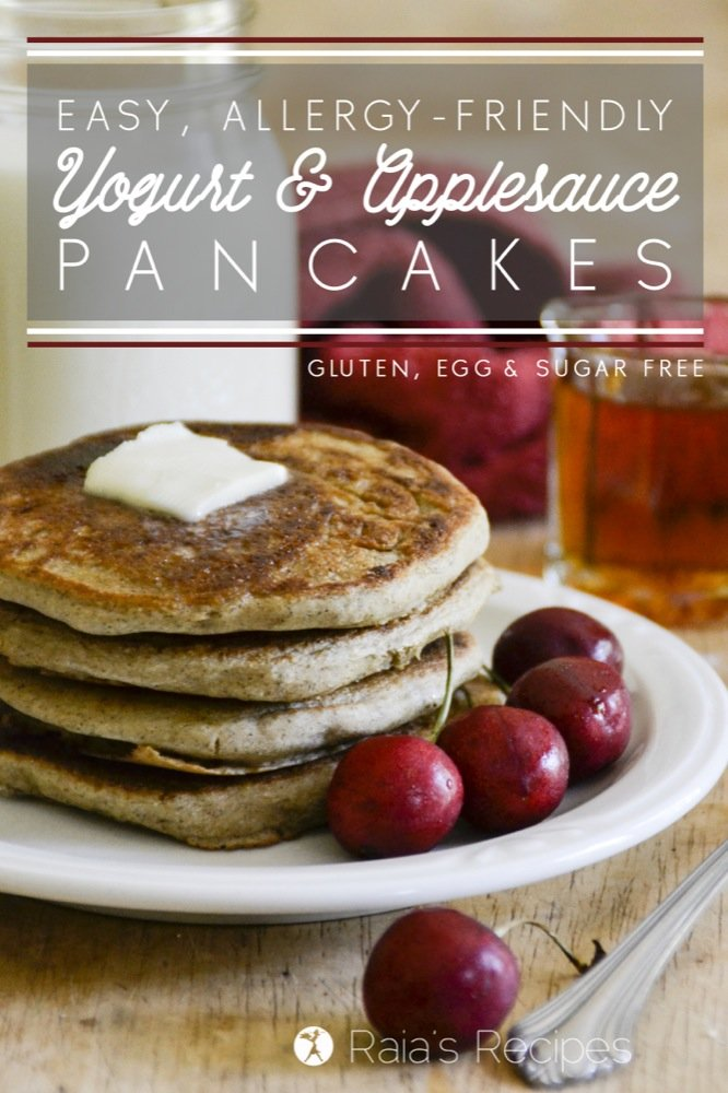 These Easy Yogurt & Applesauce Pancakes are the perfect, allergy-friendly breakfast! RaiasRecipes.com #pancakes #glutenfree #eggfree #sugarfree