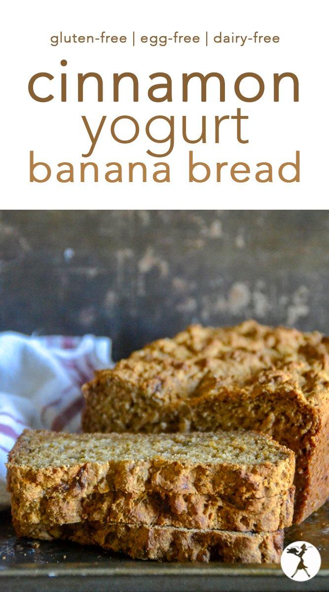 Gluten-Free Cinnamon Yogurt Banana Bread #glutenfree #eggfree #refinedsugarfree #bananabread #sweetbread #bananas #breakfast #glutenfreebaking #dairyfreeoption