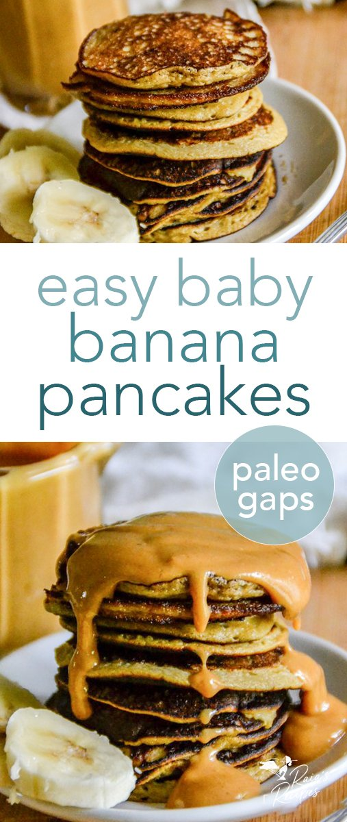 These Easy Baby Banana Pancakes with Nut Butter Syrup are a great grain-free, paleo, and GAPS friendly breakfast! Plus they're 100% kid-approved. #pancakes #paleo #lowcarb #glutenfree #gapsdiet #banana #nutbutter #easy #breakfast