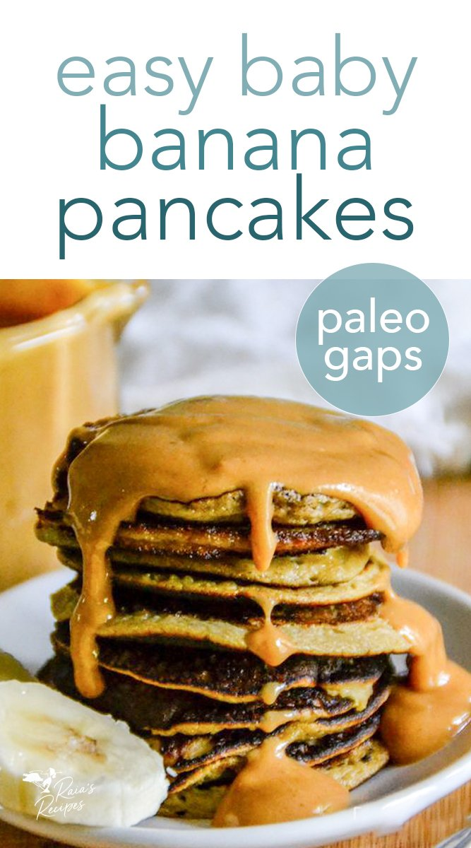 Easy Baby Banana Pancakes with Nut Butter Syrup #pancakes #paleo #lowcarb #glutenfree #gapsdiet #banana #nutbutter #easy #breakfast