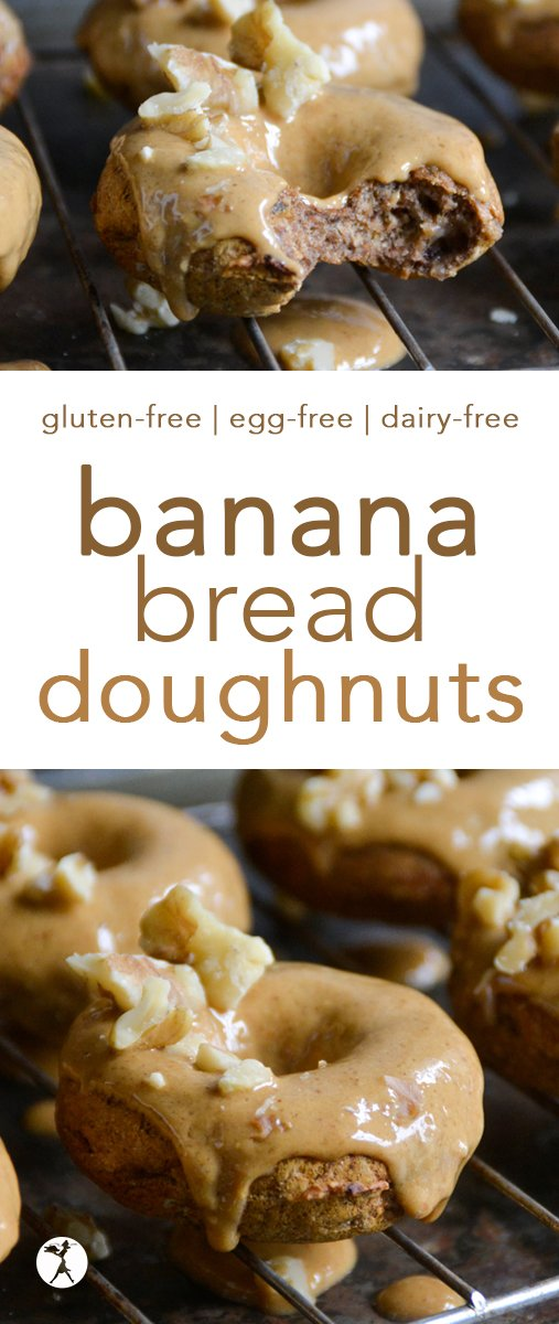 These Banana Bread Doughnuts are a fun twist on a quintessential breakfast/brunch food! Top them with a nut-butter glaze and some walnuts and they're practically gourmet! #glutenfree #eggfree #dairyfree #refinedsugarfree #donuts #doughnuts #bananabread #breakfast