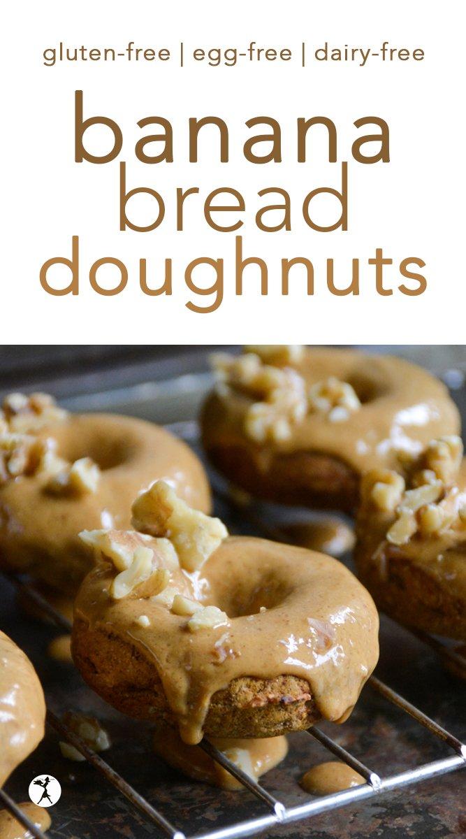 Gluten-Free Banana Bread Doughnuts #glutenfree #eggfree #dairyfree #refinedsugarfree #donuts #doughnuts #bananabread #breakfast