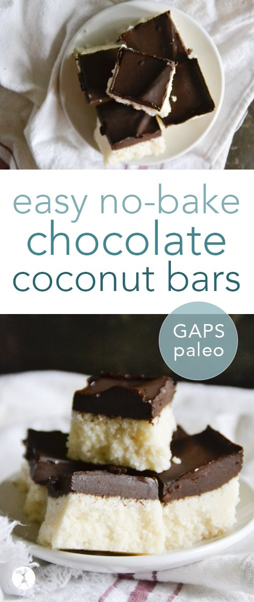 Easy and delicious, these no-bake paleo Chocolate Coconut Bars are a hit wherever they're served! With only a few real-food ingredients, you'll be devouring them in no time. #chocolate #coconut #paleo #nobake #glutenfree #realfood
