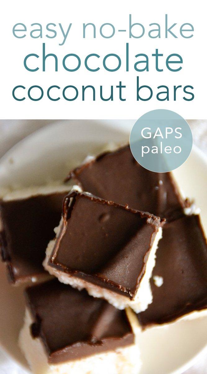 No-Bake Paleo Chocolate Coconut Bars #chocolate #coconut #paleo #glutenfree #realfood