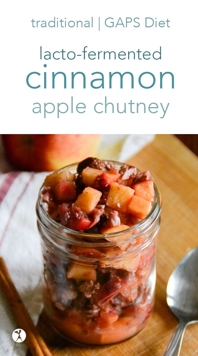 This cinnamon apple chutney is perfectly spiced and full of gut-nourishing properties. It's an easy lacto-ferment for beginners, but delicious enough that the most seasoned fermenter will love it! #lactofermented #fermentedfood #traditionalfood #chutney #glutenfree #primal #cinnamon #apples #guthealth #gapsdiet
