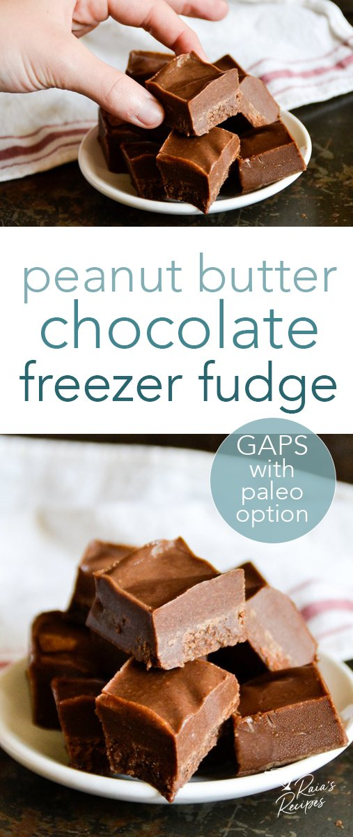 This GAPS-friendly, dairy-free peanut butter chocolate freezer fudge is full of healthy fats, and is only sweetened with honey! It's an easy to make, delicious treat the whole family will enjoy. #peanutbutter #chocolate #freezerfudge #candy #gapsdiet #paleo #glutenfree #dairyfree #refinedsugarfree #dessert