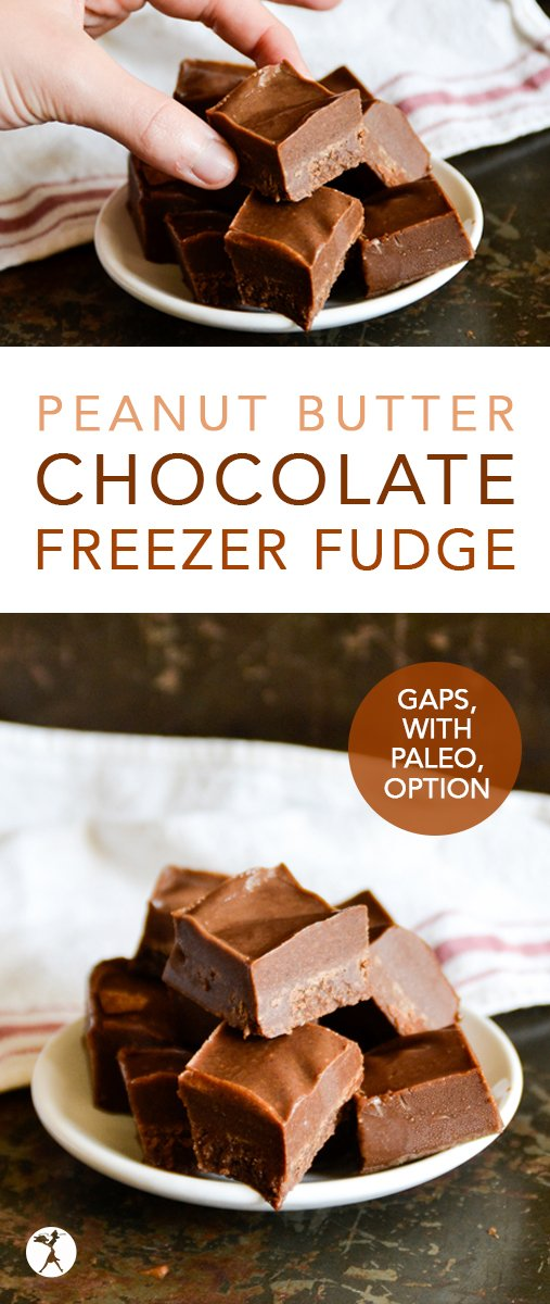 This GAPS-friendly, dairy-free Peanut Butter Chocolate Freezer Fudge is full of healthy fats, and is only sweetened with honey! #chocolate #peanutbutter #gapsdiet #fudge #summer #healthytreats #cleaneating #paleooption #veganoption