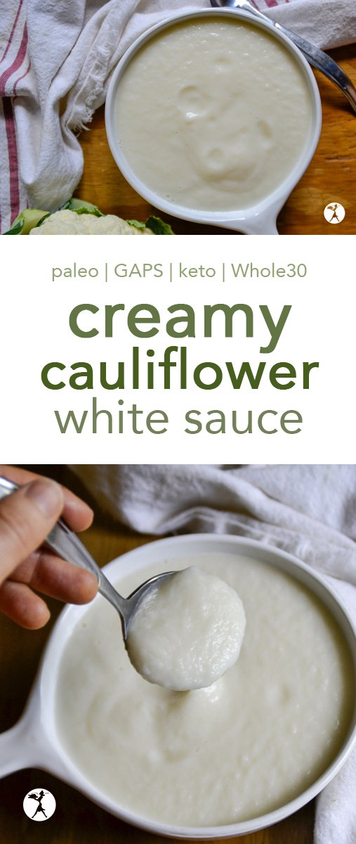 Need a dairy-free alternative to alfredo sauce? This Creamy Cauliflower White Sauce will do the trick! It's easy, paleo, GAPS, keto, Whole30, and super-tasty! #glutenfree #paleo #gapsdiet #sauce #alfredo #dairyfree #vegan #lowcarb #keto