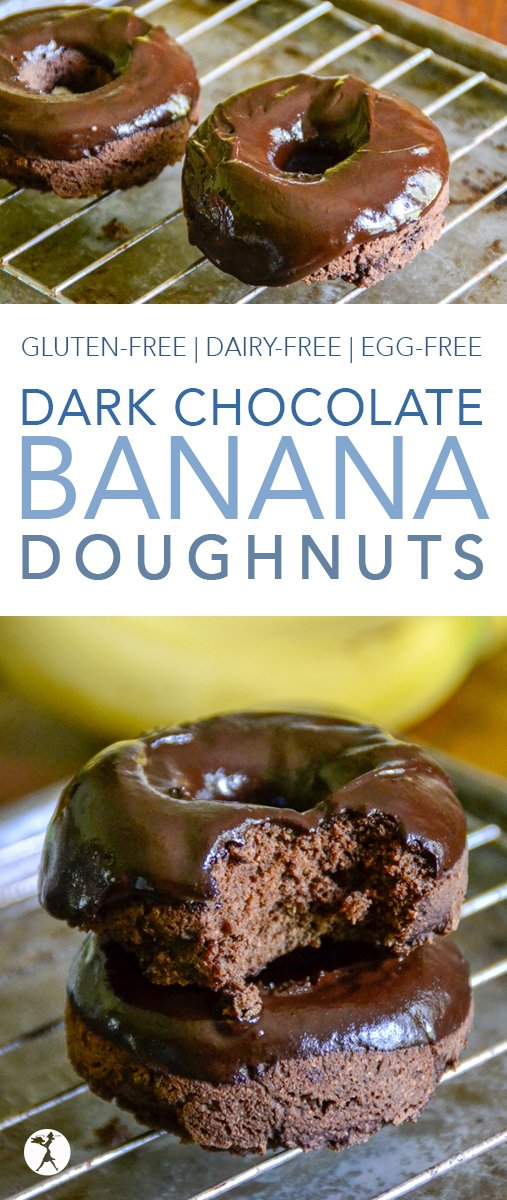 These Dark Chocolate Banana Doughnuts make the perfect dessert! But they're also healthy (and easy) enough to make for breakfast! They're gluten-free, dairy-free and egg-free, with a vegan option. #glutenfree #dairyfree #eggfree #refinedsugarfree #veganoption #chocolate #banana #donuts #doughnuts #darkchocolate #breakfast #dessert