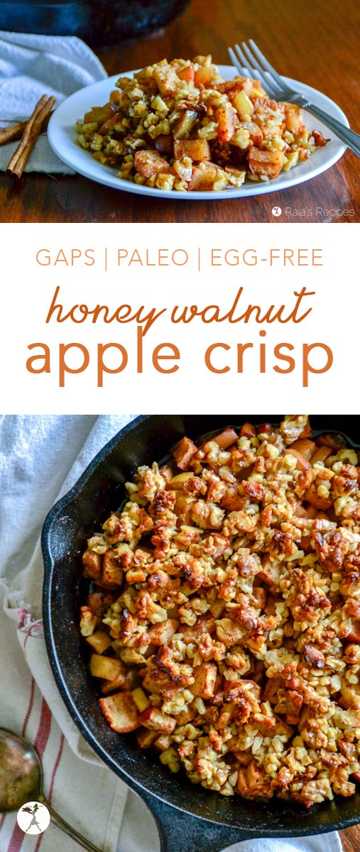 This Honey Walnut Apple Crisp is the perfect grain-free version of the all-time favorite breakfast comfort food. It's easy, paleo, and GAPS-friendly, too! #applecrisp #grainfree #glutenfree #dairyfree #eggfree #refinedsugarfree #gapsdiet #paleo #walnuts #apples #honey #breakfast