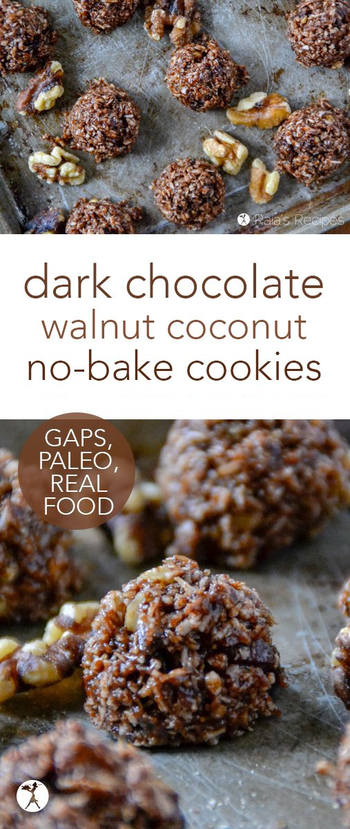 These Dark Chocolate Walnut Coconut No-Bake Cookies might be a mouthful... but they're a delicious one. And being 100% paleo and GAPS-friendly, they're a healthy mouthful, too. #paleo #glutenfree #gapsdiet #nobake #cookies #chocolate #walnuts #coconut #dessert #darkchocolate #rawfood #dairyfree