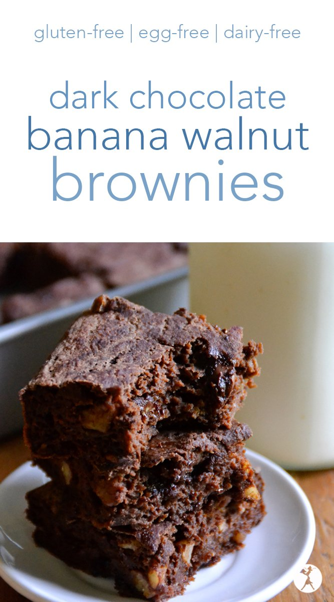 These rich, FudgyDark Chocolate Banana Walnut Browniesare sure to make the brownie-lovers happy. They're free from gluten, dairy, eggs, and refined sugar, but full of chocolatey goodness! #banana #walnut #brownies #glutenfree #dairyfree #eggfree