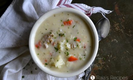 Creamy Roasted Red Pepper, Sausage & Cauliflower Soup