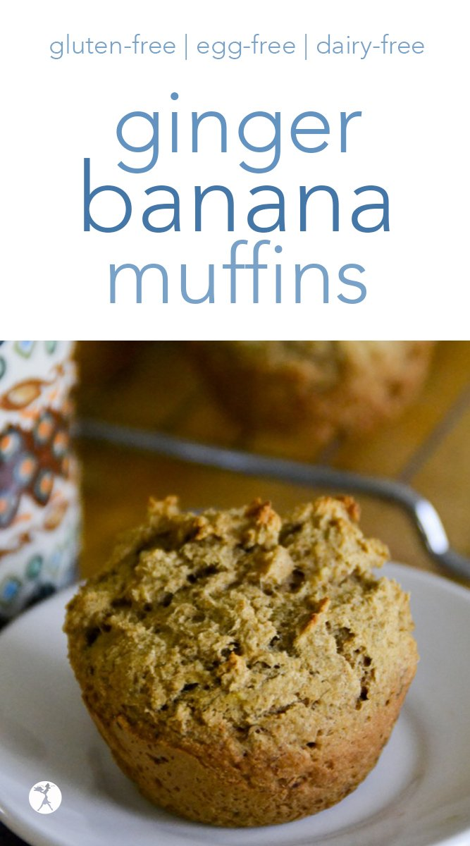Can you think of a better start to the day than a warm, fluffy, allergy-friendly muffin? These gluten-free, egg-free, dairy-free, and refined sugar-freeGinger Banana Muffins are perfect for the job. #banana #ginger #muffins #glutenfree #dairyfree #eggfree #refinedsugarfree
